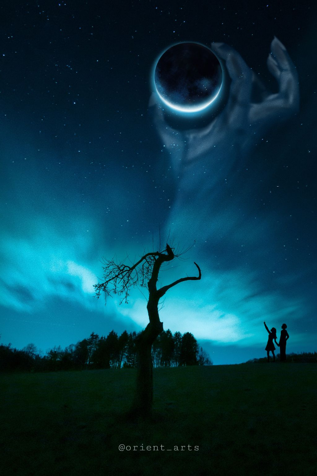#madewithpicsart #imagination #silhouette #planet #scary #hand #nightsky #stars #clouds #romantic #freetoedit