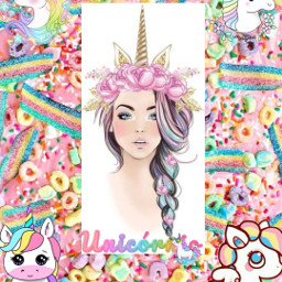 freetoedit unicorn girl horn cute