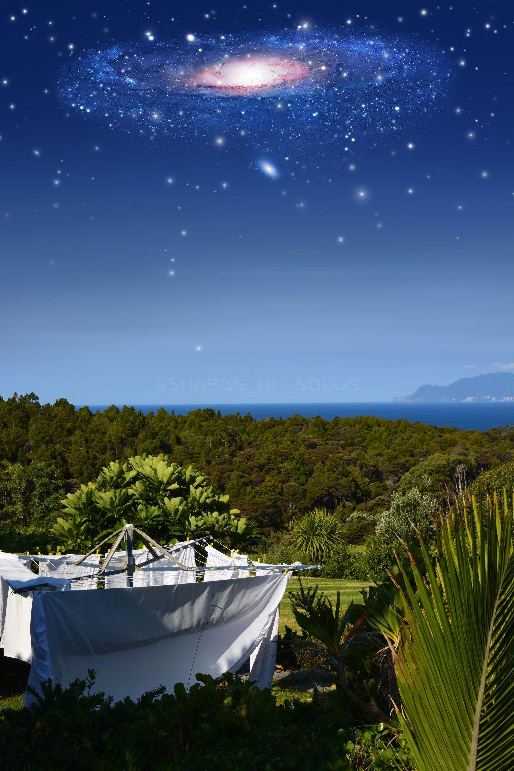 #sky #stars #blue #ocean #trees #horizon #newzealand #nz #travel #milkyway #galaxy #nature #freetoedit #myphoto #myedit #summer #sea