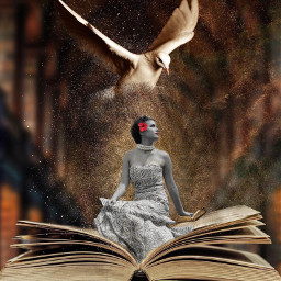 mystical girl lady book sprinkle freetoedit