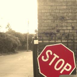 stop sign streetsign brickwall sepia freetoedit