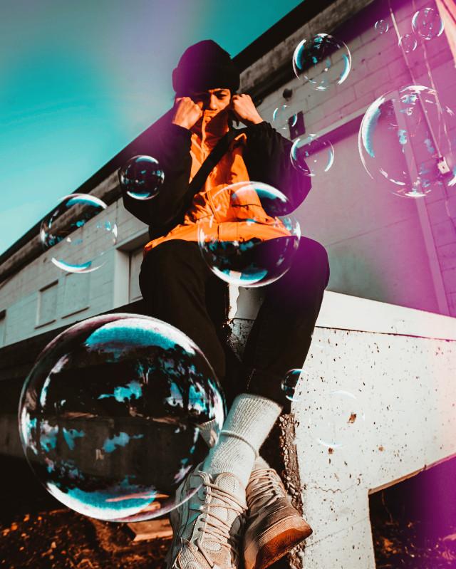 #freetoedit #bubbles #bubble #lights #guy