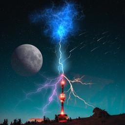 madewithpicsart imagination moon meteorshower lightning freetoedit