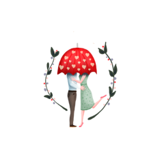 couple heart love umbrella romance freetoedit