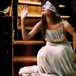 freetoedit woman blind blindfold bird