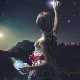 stars lights mountain darknight dark