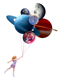 planets girl balloons freetoedit