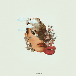 freetoedit face girl half flowers
