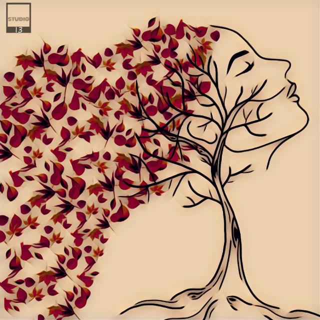 #digitalart #artist #picsartdrawing #girl #sideprofile #leaves #autumn #selflove #doodle #sketch #drawing #tree  #freetoedit