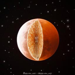 moon fruit juice orange space freetoedit
