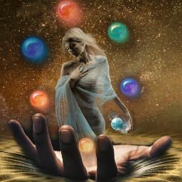 freetoedit space spaceremix gold woman ircuniverseinyourhand universeinyourhand
