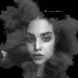 freetoedit woman face smokeeffect blackandwhite