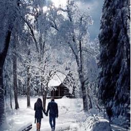 vipshoutout forest winter snow fantasyart freetoedit