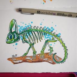 ink chameleon lizard animal animalskulls freetoedit