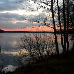 winter sunset lake trees photography freetoedit