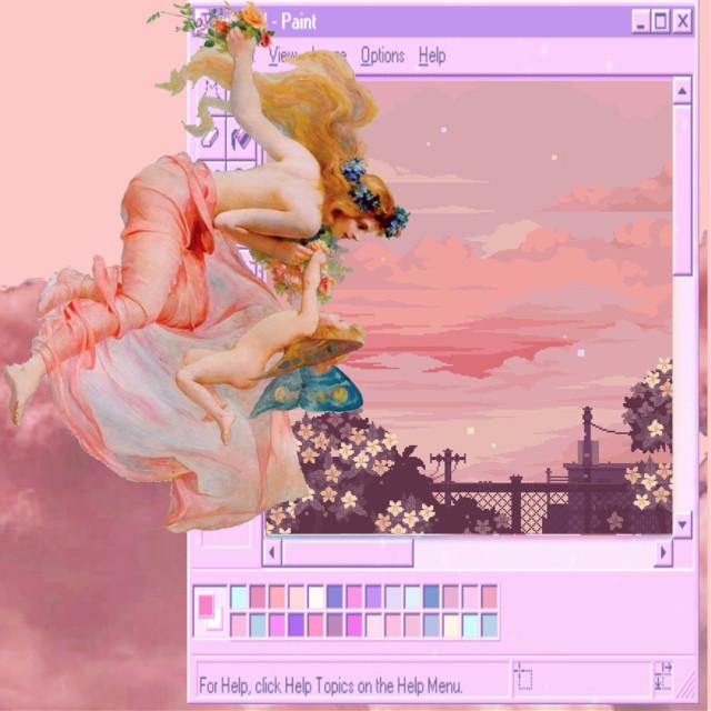 #pink #aesthetic #paint #cherub #goddess  #freetoedit