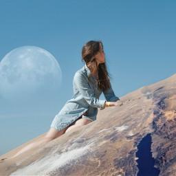 freetoedit manipulationsalbania planet sky girl