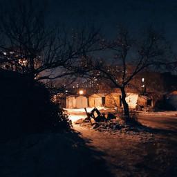 night winter lights mood freetoedit