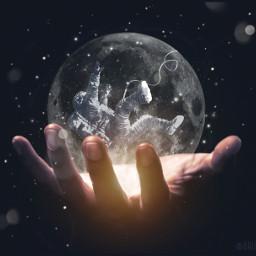 freetoedit moonman astronaut galaxy moon ircuniverseinyourhand universeinyourhand