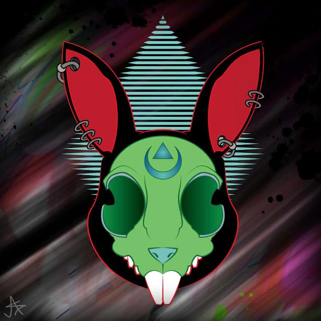 #rabbitface #rabbit #rabbits #skullart #skull #skullface #punkart #punkstyle #graphicart #graphicdesign