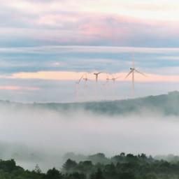 freetoedit fog windmills renewableenergy sunrise pcbreathtakingviews