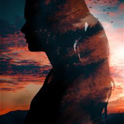 silhouette doubleexposure girl sunset people freetoedit