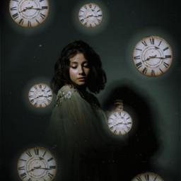 freetoedit dark girl clock spooky
