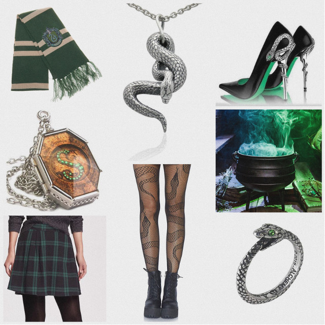 🐍 Slytherin 🐍 #slytherin #slytherinhouse #hogwarts #hogwartsschoolofwitchcraftandwizardry #heels #snake #serpent #snakes #plaidskirt #greenplaid #cauldron #slytherinslocket #slytherinaesthetic #locket