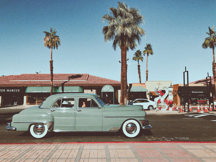 #retro #palmsprings #car #tree #vintage #palmtrees #blue #turquoise #sky #street #town #city #road #gray #palm #remixit #photography #freetoedit