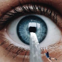 madewithpicsart imagination eye waterfall falling freetoedit