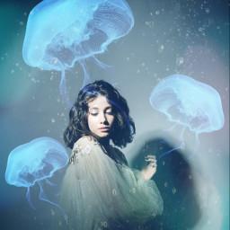 freetoedit girl jellyfish underwater girlunderwater