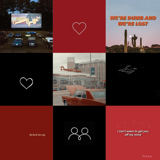 "80's aesthetic moodboard with a twist ""To the colours of red and black I saw tonight."" #80saesthetic #moodboard #braindump"