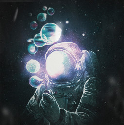 picsart madewithpicsart editing art visualart surrealart surrealism spaceart bubbles astronaut planet