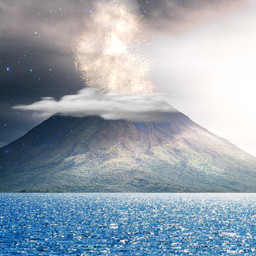 freetoedit background sea volcano landscape