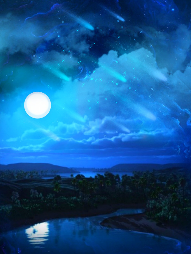#freetoedit #nature #landscape #nightsky #moonlight #meteorshower #shootingstars #river #lake #aesthetic #blue #myedit #madewithpicsart