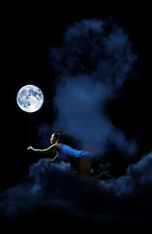 #freetoedit #cloud #moon #girl #sky #night #float #hdr #nature #picsart