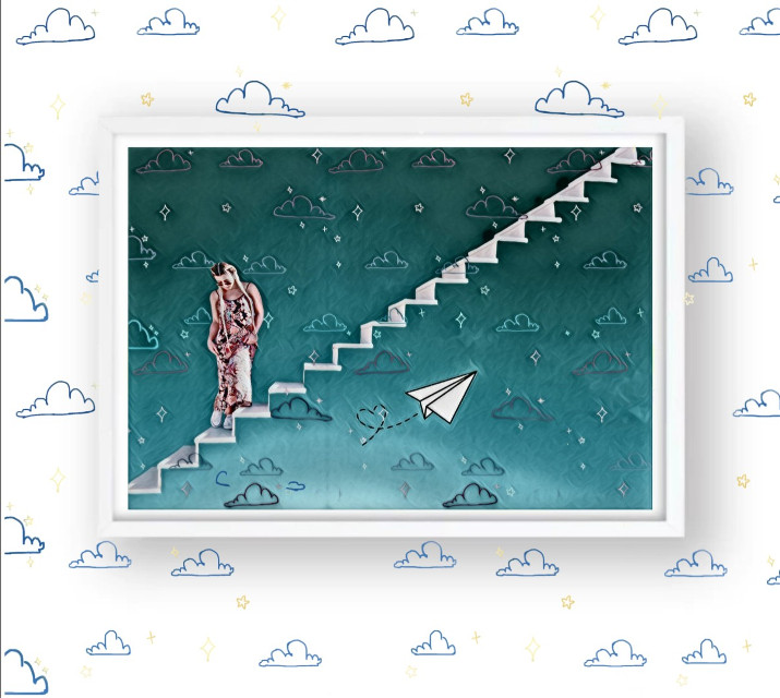 #clouds #stairs #bluesky #paperplane #girl #stars #frame #whitewall #whiteframe #imagination  #srcsunnyclouds #sunnyclouds