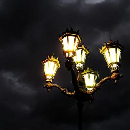 freetoedit streetlight night clouds photography