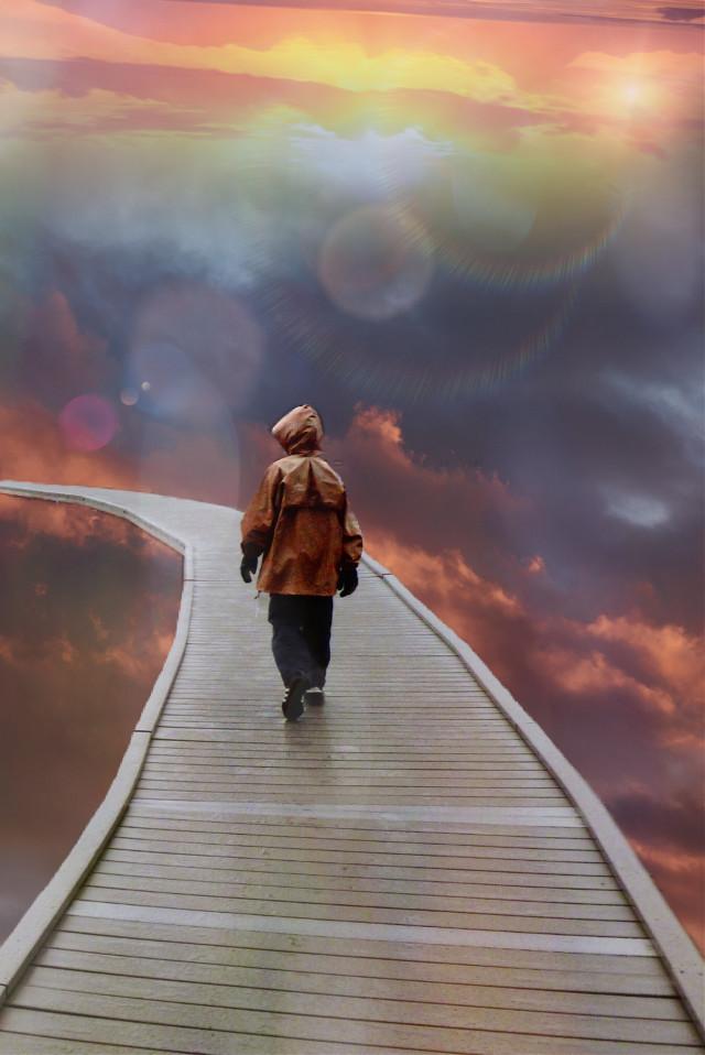 #freetoedit #fantasyart #clouds #path #pathway #man #walking #maskeffect #masklight #lensflare #dreamy #surreal #surrealistic #myedit #madewithpicsart