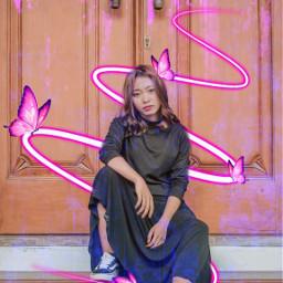 freetoedit pink neonswirl butterfly neonpink