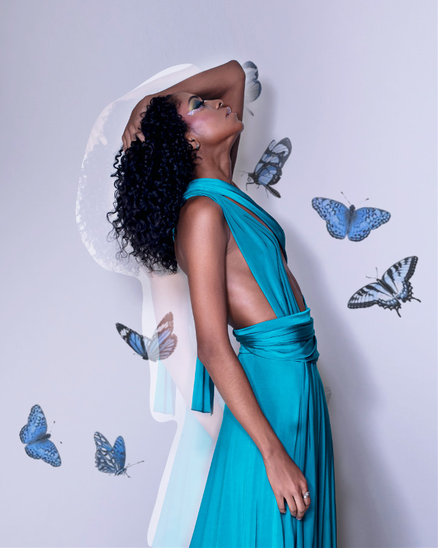 #freetoedit #remixit #girl #blue #butterflies #butterfly #aesthetic #dress #light