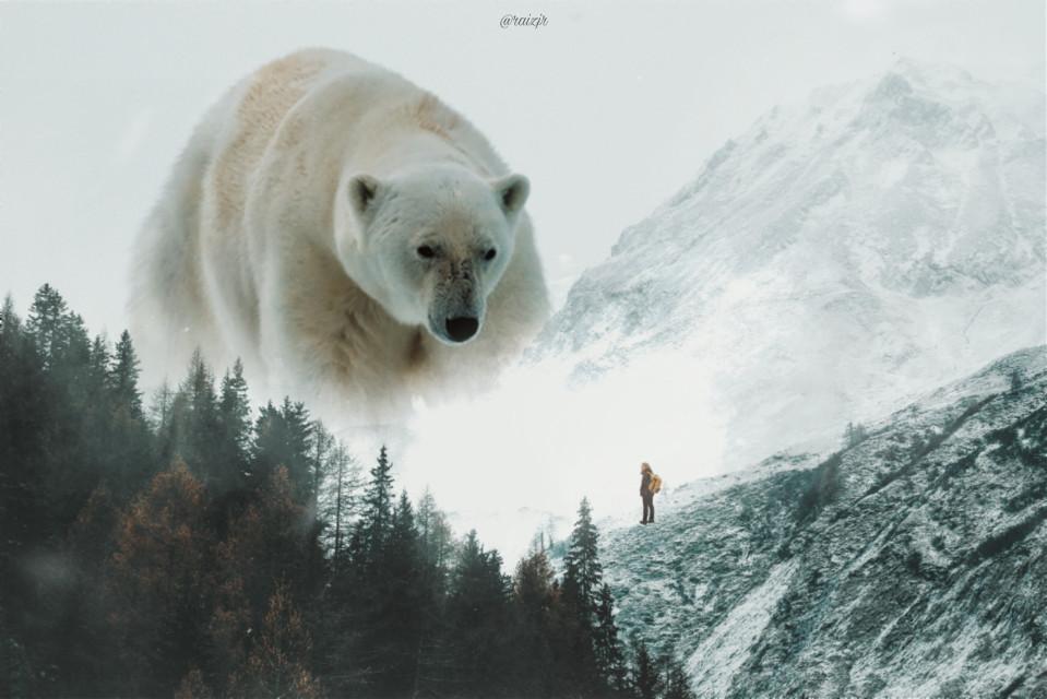 King of Snow.  #picsart #madewithpicsart #editing #art #visualart #surrealart #mountain #snow #bear #explorer
