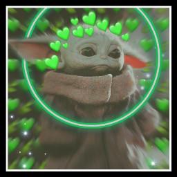 green babyyoda aesthetic heart heartcrown freetoedit echeartcrowns heartcrowns