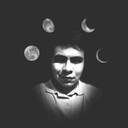selfportrait selfie moon blackandwhite creativeselfie