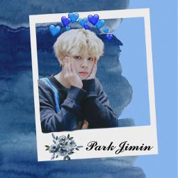 freetoedit parkjimin blue flower hearts