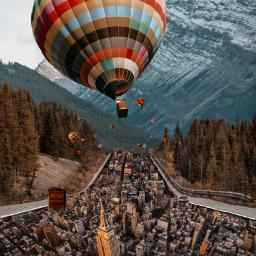 travel city balloon buildings hotairballoon