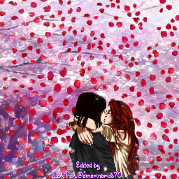 rosepetals picsartchallenge roses animecouple cartoonizer srcrosepetals freetoedit