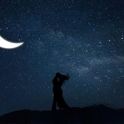 freetoedit couple cute moonlight moon