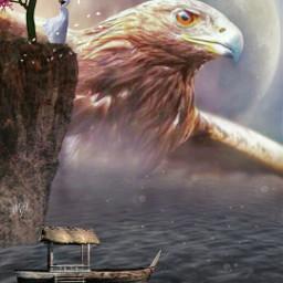 freetoedit editbyme photomanipulation eagle moon