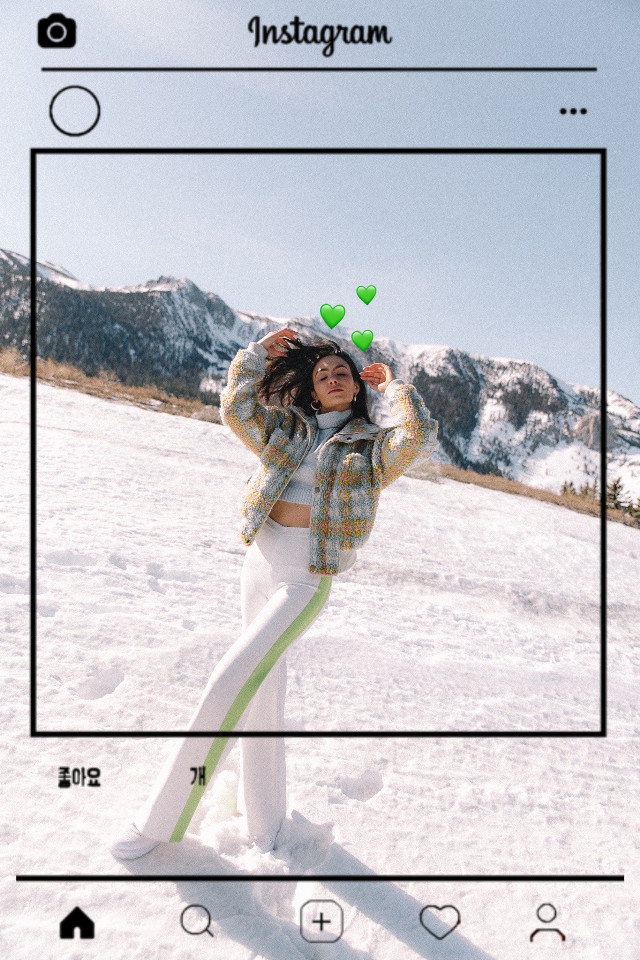 #freetoedit #remixit #girl #green #heart #hearts #greenhearts #instagram #frame #instagramframe #snow #aesthetic